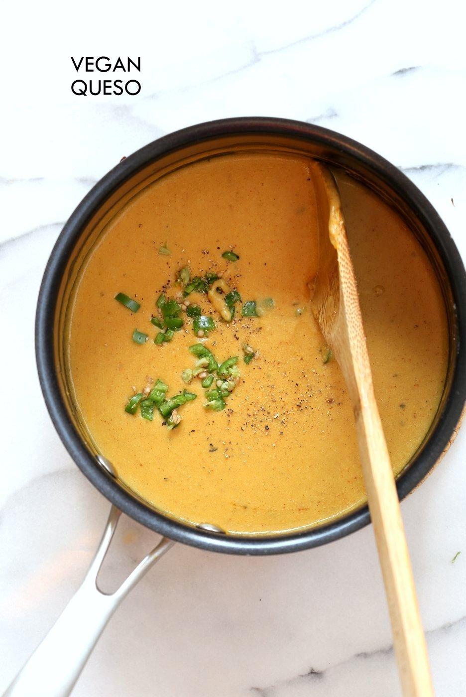 10 Minute Vegan Nacho Cheese Sauce. Easy Creamy Vegan Queso Dip. For Nachos, salads, tacos and more. Vegan Nut-free Recipe. | VeganRicha.com