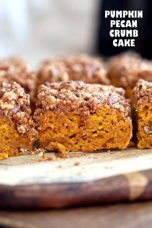 Vegan Pumpkin Coffee Cake with Pecan Crumb. Easy 1 Bowl Pumpkin Cake, topped with Chai Spice Pecan Streusel. Just 15 mins prep. Soft, Spiced, Delicious. Vegan Soy-free Recipe. | VeganRicha.com