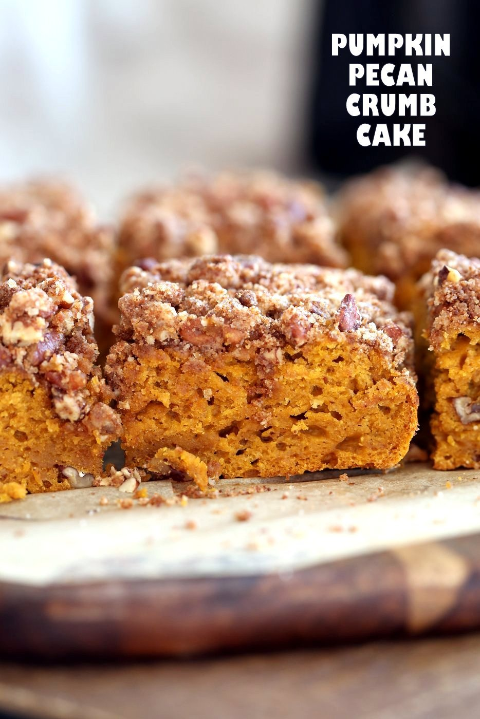 Vegan Pumpkin Coffee Cake with Pecan Crumb