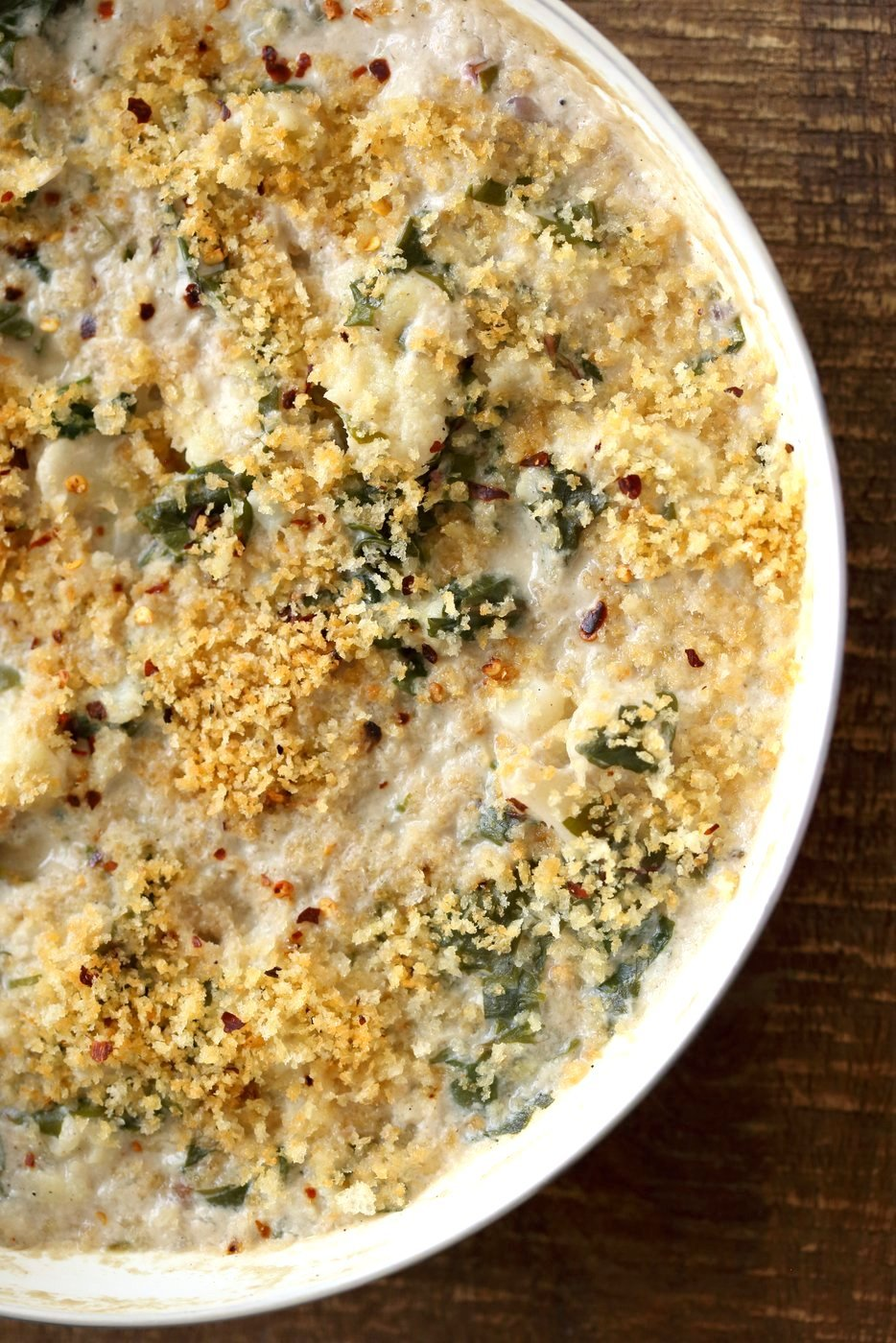 Vegan Cauliflower Gratin - Creamy, Spiced Cauliflower Casserole. No Bake Skillet Gratin or Bake with a garlic breadcrumb topping. Vegan Soy-free Recipe, Can be gluten-free and nut-free. | VeganRicha.com
