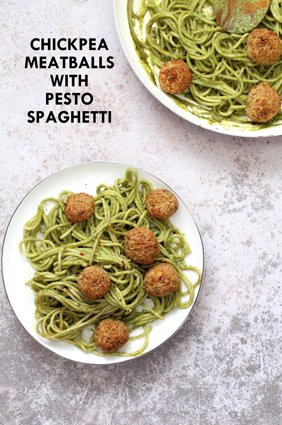 "AmazingPesto Spaghetti with Vegan Meatballs made with Chickpeas. 24 Gm of Protein. Vegetarian Chickpea Walnut ""meatballs"" over pesto pasta. Ready in 40 Minutes. Vegan Soyfree Recipe. Can be Glutenfree | VeganRicha.com"