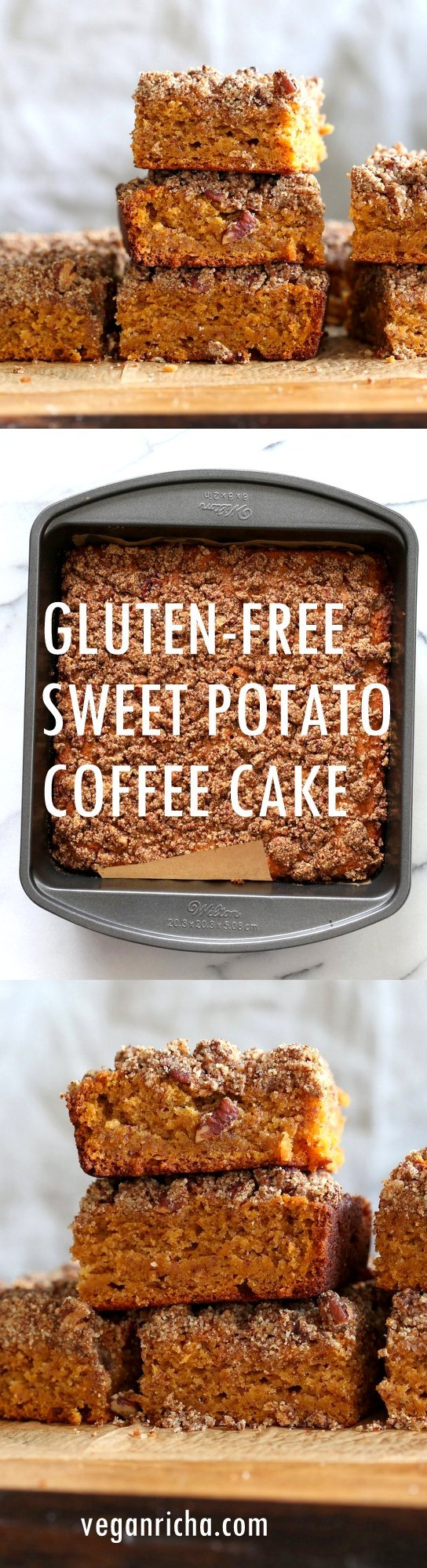 Vegan Gluten free Coffee Cake - Simple Fall Sweet Potato Pecan Crumb Cake with Pumpkin pie spices. Warm Cozy slice of cake. Gluten-free Soy-free Recipe.  | VeganRicha.com