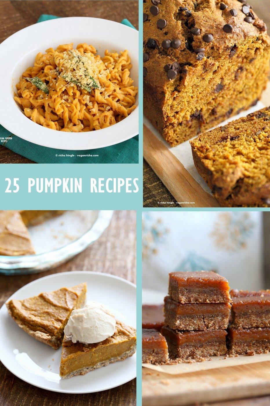25 Vegan Pumpkin Recipes to Make this Fall. Pumpkin Crumb Cake, Bread, Muffins, Salad, Chili, Pasta, Pumpkin Cinnamon Rolls and More.  VeganRicha.com