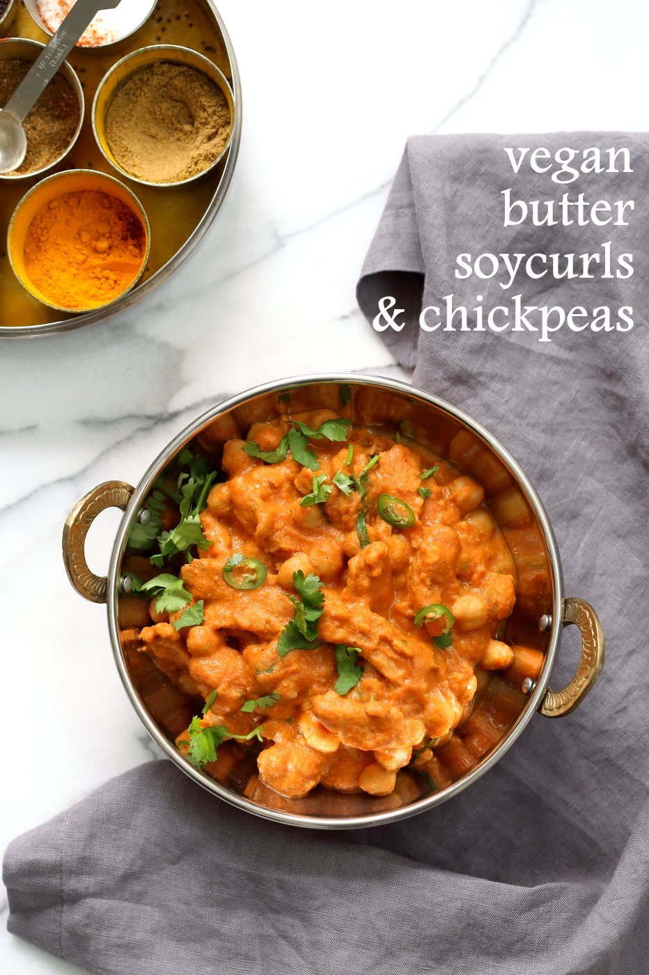 Instant Pot Vegan Butter Chicken with Soycurls and Chickpeas. 15 minute Active time! 1 Pot Creamy Butter Soy Curls. Use all chickpeas for soy-free. Vegan Gluten-free Recipe. Nut-free option | VeganRicha.com
