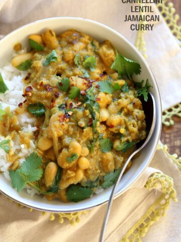 Cannellini and Lentil Jamaican Curry. Ran out of chickpeas to make lentil and chickpea Jamaican curry. Easy Coonut Curry with Jamaican Curry spices and beans and red lentils. #Vegan #Glutenfree #Soyfree #Nutfree #Recipe #veganricha   VeganRicha.com