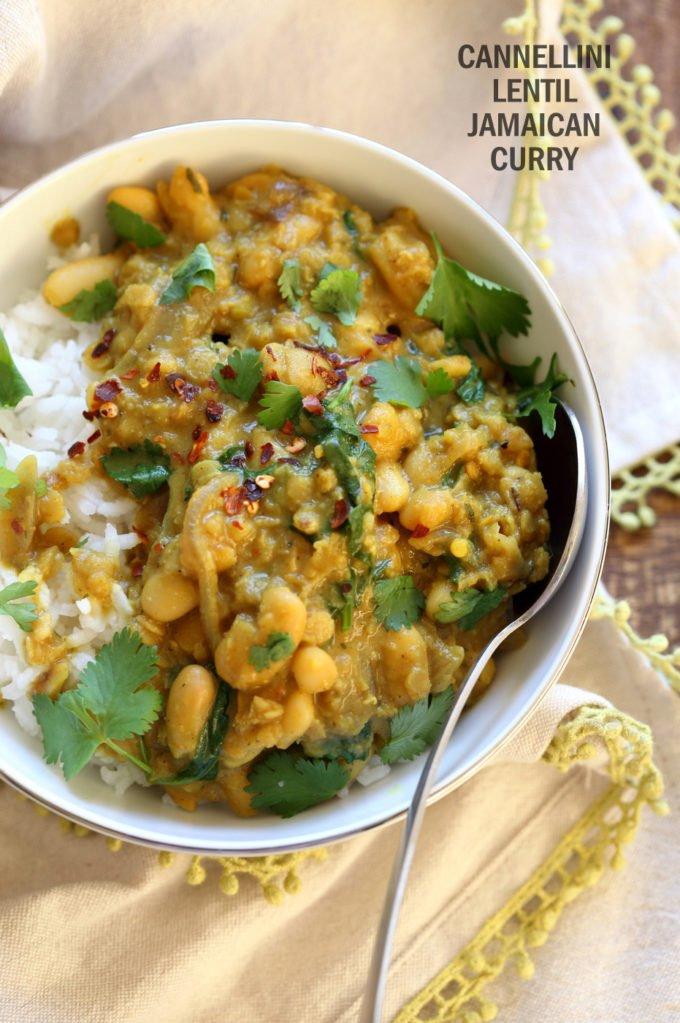 Cannellini and Lentil Jamaican Curry. Ran out of chickpeas to make lentil and chickpea Jamaican curry. Easy Coonut Curry with Jamaican Curry spices and beans and red lentils. #Vegan #Glutenfree #Soyfree #Nutfree #Recipe #veganricha | VeganRicha.com