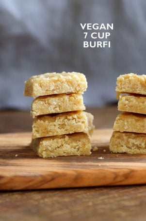 Vegan 7 Cup Burfi – Chickpea flour and Coconut Fudge