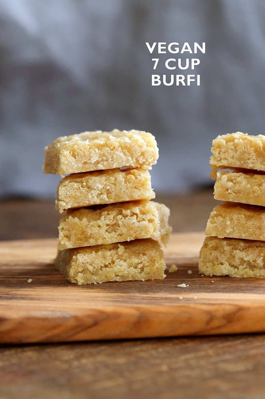 Vegan 7 Cup Burfi - Chickpea flour and Coconut Fudge. 7 cup cake veganized with almond milk and oil. 6 Ingredients! Easy Traditional Indian Sweet 7 cup cake for Diwali or other festivals. Vegan Gluten-free Soy-free Recipe. Nut-free option | VeganRicha.com