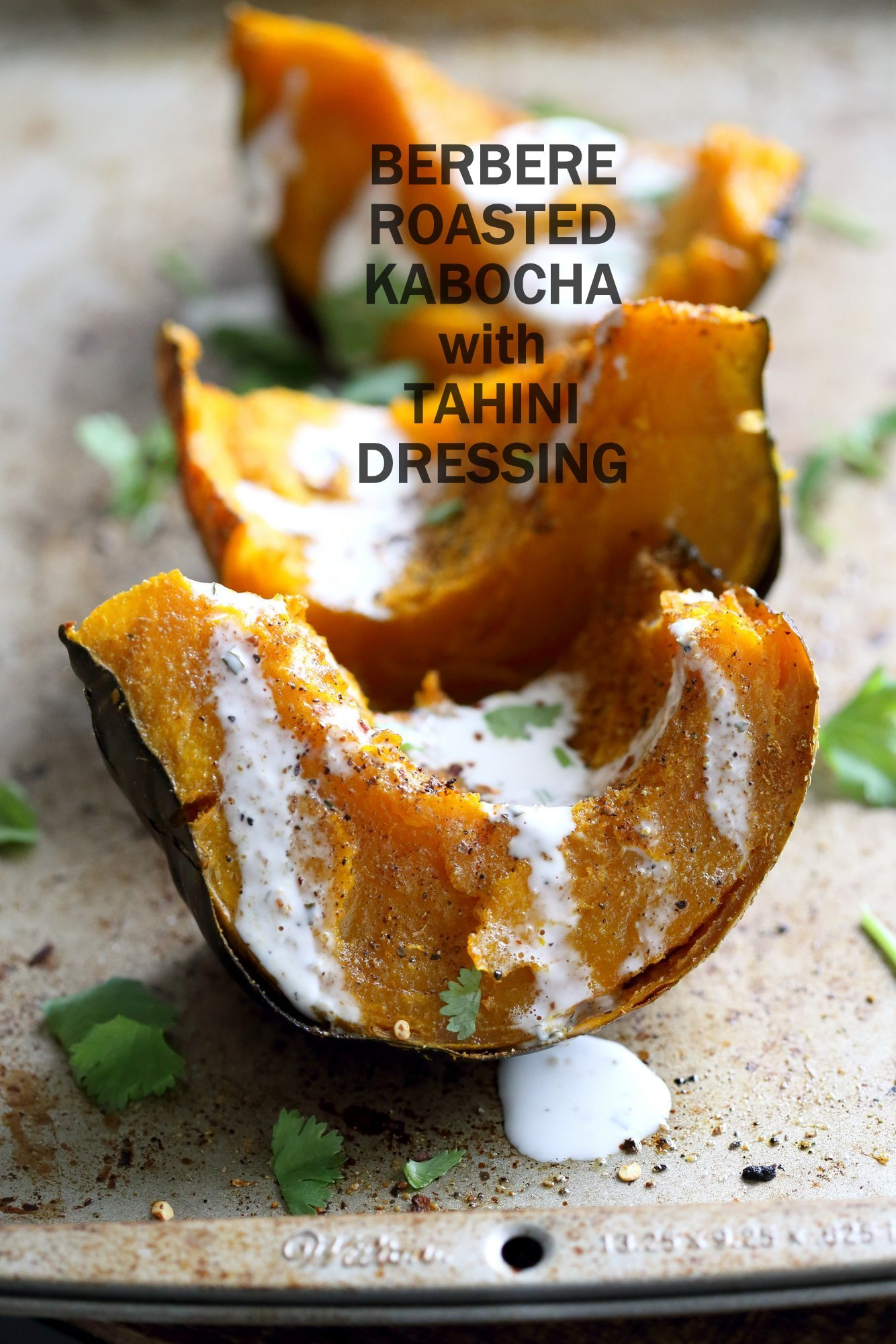Berbere Roasted Kabocha Squash with Tahini Dill Dressing. Use ohter spice blends of choice. Festive, spiced winter squash. Add cranberries or other dried fruit. #Vegan #Glutenfree #Soyfree #Recipe #veganricha | VeganRicha.com