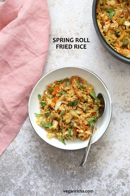 1 Pot, 30 Minute Veggie Spring Rolls Fried Rice! Fridge clean up fried rice with cabbage, carrots, bell pepper,  with rice or other cooked grains for a quick weeknight meal. Vegan Gluten-free Nut-free Recipe | VeganRicha.com