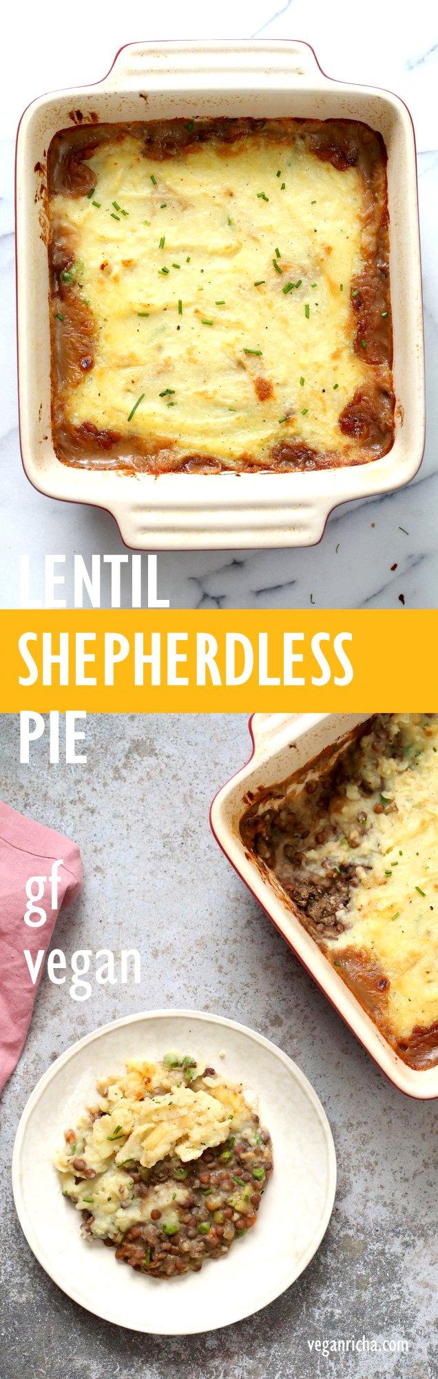 Vegan Shepherd's Pie - Mushroom and Lentil Shepherdless Pie with Gravy and Garlic mashed potatoes. #Vegan #Glutenfree #Recipe. Can be soy-free. #veganricha | VeganRicha.com