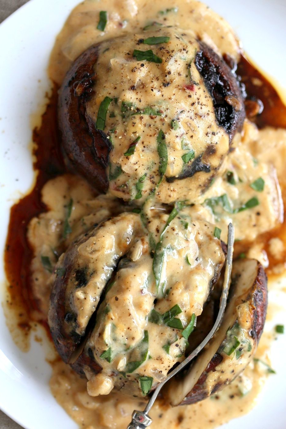 Grilled Portobello Mushrooms with Garlic Sauce - Vegan Richa