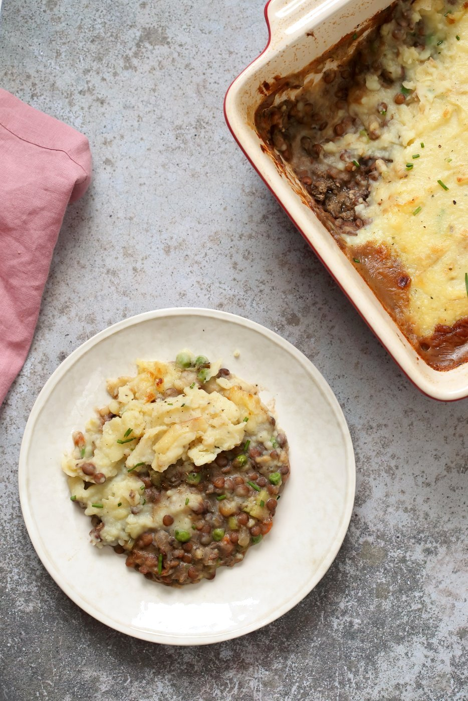 Vegan Shepherd's Pie - Mushroom and Lentil Shepherdless Pie with Gravy and Garlic mashed potatoes. #Vegan #Glutenfree #Recipe. Can be soy-free. #veganricha | VeganRicha.com