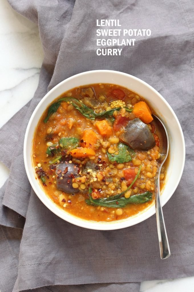 Instant Pot Eggplant Sweet Potato Lentil Curry. Mung Beans, lentils, spices, sweet potato and eggplant make a filling curry or soup. Use other veggies of choice. Vegan Gluten-free Soy-free Nut-free Recipe. Make it in a saucepan or InstantPot Pressure Cooker. #vegan #glutenfree #soyfree #veganricha