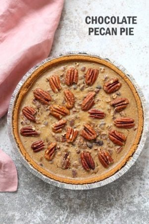 Vegan Chocolate Pecan Pie with Dates and Chai spice. All the pecan pie with chocolate. Vegan Derby Pie. Glutenfree with gf crust. Soyfree Recipe. #vegan #veganricha | VeganRicha.com