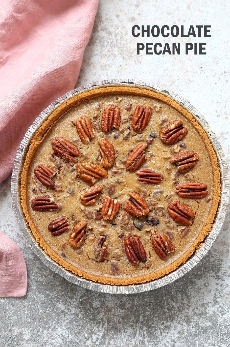 Vegan Chocolate Pecan Pie with Dates and Chai spice. All the vegan pecan pie with chocolate. Vegan Derby Pie. Glutenfree with gf crust. Soyfree Recipe.#vegan #veganricha | VeganRicha.com