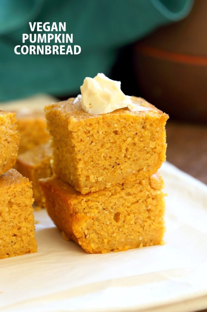 1 Bowl Vegan Pumpkin Corn bread with a few ingredients. Spiced, lightly sweet and great with soups, chilis or on its own with vegan butter and maple syrup or make sandwiches with it. #Vegan #Soyfree #Recipe.#veganricha | VeganRicha.com