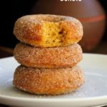 Vegan Pumpkin Donuts with Cinnamon Sugar. Soft, Spiced, Amazing. Vegan Doughnuts. Pumpkin Cinnamon  sugar Donuts. Nut-free option. #vegan #veganricha