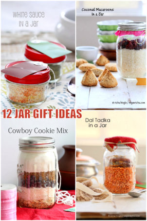 12 Ideas for Holiday Mason Jar Gifts! Vegan, Gluten-free options. Cake Mixes, Cookie Mixes, Lentil Soups, Meals, Pasta Sauces, Crepe Mix, Sweet and Savory Granola and More.  #vegan #veganricha