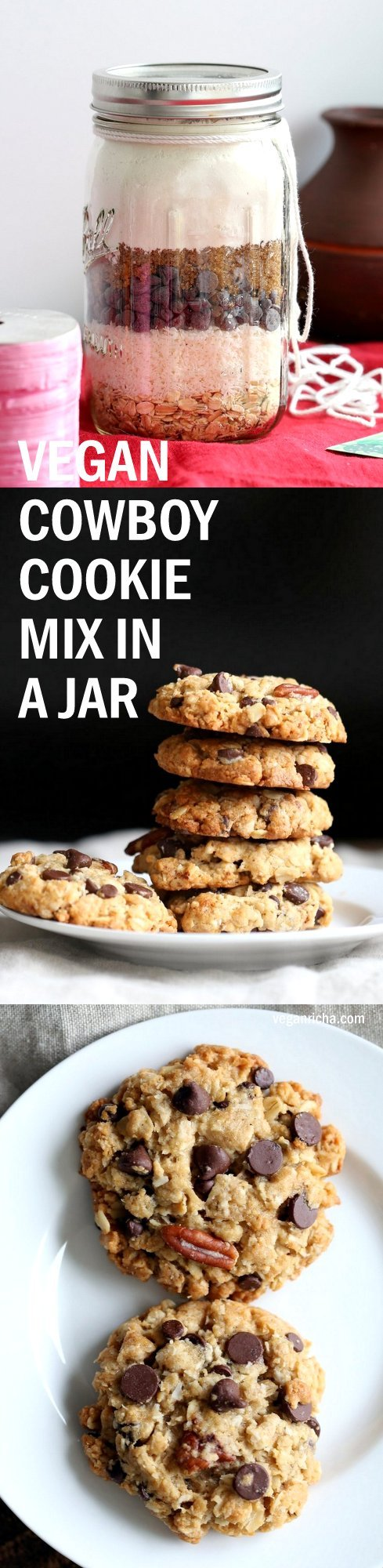 Vegan Cowboy Cookies Mix makes great Jar gifts for the Holiday Season. 1 Bowl Coconut Oatmeal Pecan Chocolate Chip Cookies. Layer oats, flour, coconut, chocolate sugar and pecans. Mix, add applesauce and oil, and bake. #veganricha #Vegan #Recipe Can be #glutenfree | VeganRicha.com