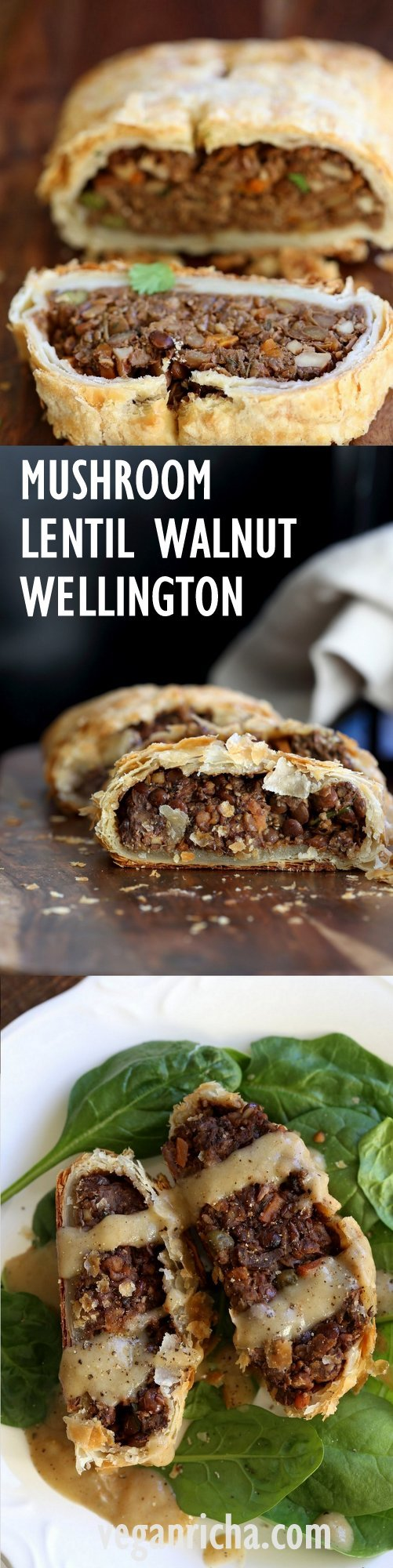 Mushroom Walnut Lentil Wellington. Easy Vegan Wellington for the Holidays and potlucks. Puff pastry wrapped lentil walnut mushroom loaf. Use pecans for variation Vegan Recipe. Make into a loaf to make gluten-free. #vegan #veganricha