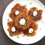Easy Vegan Latkes. Potato & Sweet Potato Latkes. Panfried crispy latke fritters for Hannukah. #Vegan #Glutenfree #soyfree #Nutfree #Recipe.#VeganRicha | VeganRicha.com
