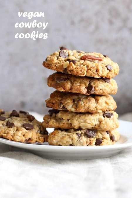 Vegan Cowboy Cookies Mix makes great Jar gifts for the Holiday Season. Layer oats, flour, coconut, chocolate sugar and pecans. Mix, add applesauce and oil, and bake. #veganricha #Vegan #Recipe Can be #glutenfree. | VeganRicha.com