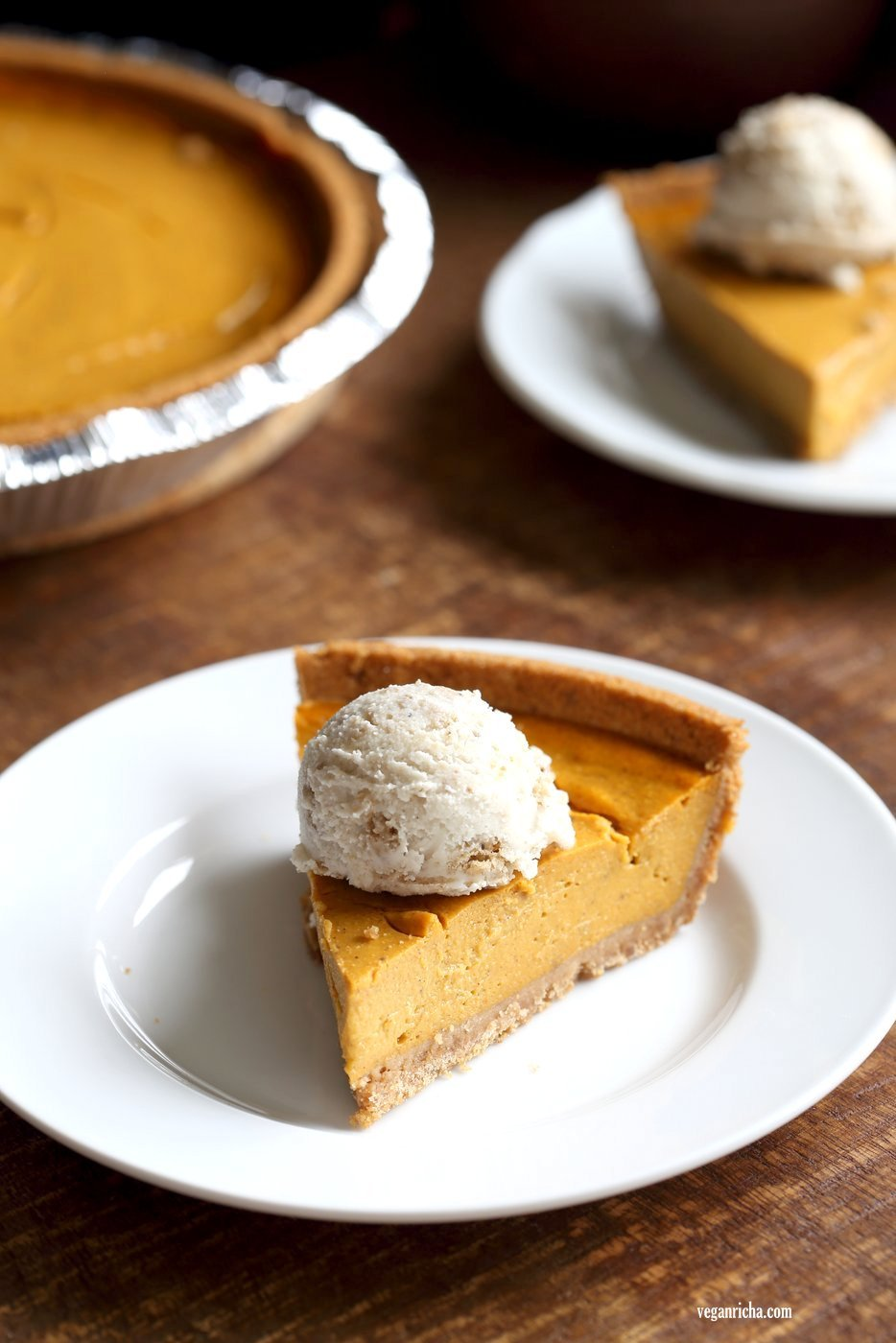 Vegan Pumpkin Cheesecake with graham cracker style crust. Easy Creamy Pumpkin Cheesecake to please everyone. Gluten-free with gluten free crust.#Soyfree #Recipe #vegan #pumpkinheesecake #veganricha | VeganRicha.com