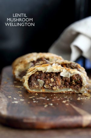 Mushroom lentil Wellington. Easy Vegan Wellington for the Holidays and potlucks. Puff pastry wrapped lentil walnut mushroom loaf. Vegan Recipe. Make into a loaf to make gluten-free.#vegan #veganricha