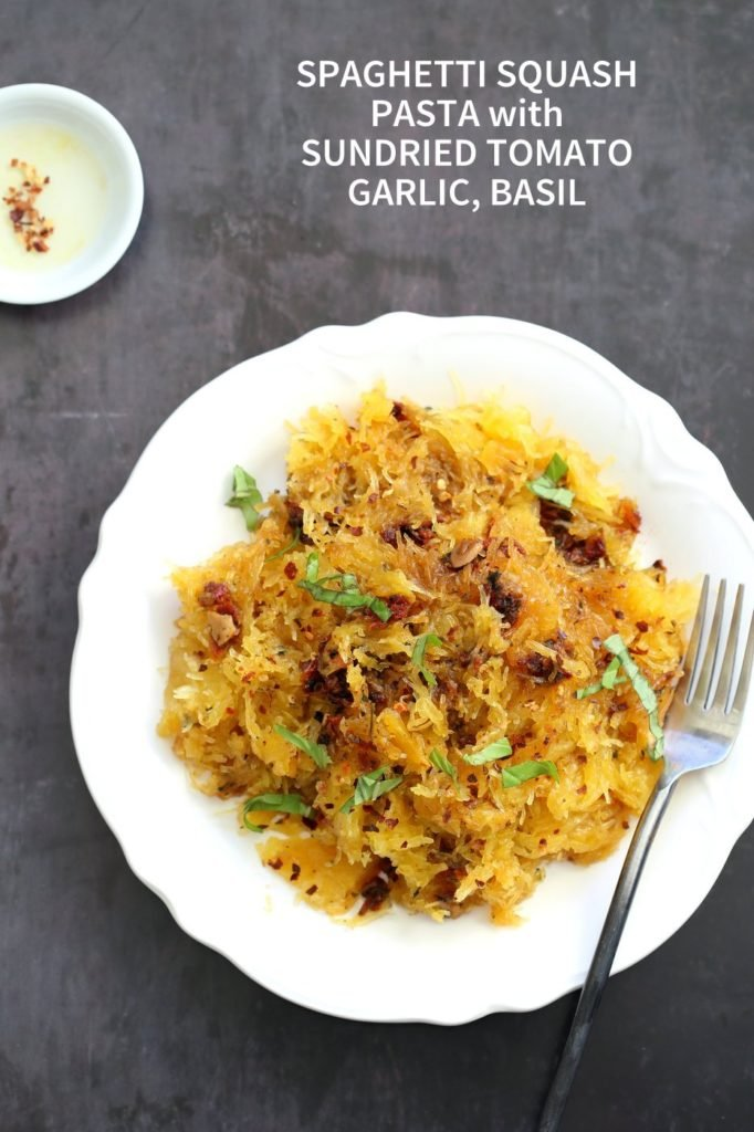 Spaghetti Squash Pasta with Sun-dried Tomato, Garlic & Basil