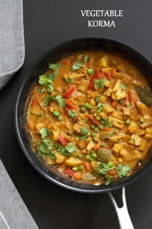 Vegetable Korma - Veggies in Spiced Ginger Chile Sauce. Creamy Indian Korma Recipe made without Onion and garlic. Vegan Indian Gluten-free Soy-free  Can be made nut-free. No Onion No Garlic Recipe. #vegan #veganricha