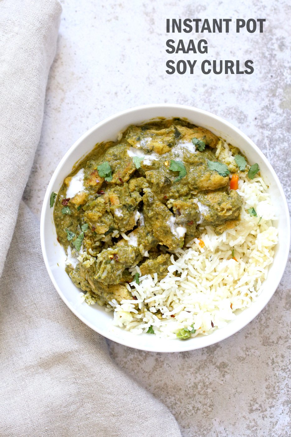 Instant Pot Vegan Chicken Saag with Soy Curls. Use seitan, tempeh, baked tofu, chickpeas or chikin substitutes for variation. Use potatoes to make Saag Aloo. 1 Pot Soy curls in Spinach Sauce. #Vegan #Glutenfree #Recipe Can be Soy-free and Nut-free  #veganricha | VeganRicha.com