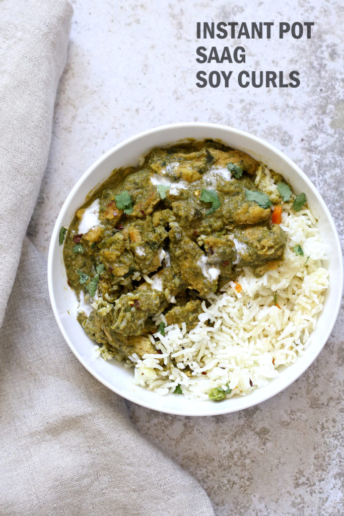 Instant Pot Vegan Chicken Saag – Soy Curls in Spinach Sauce