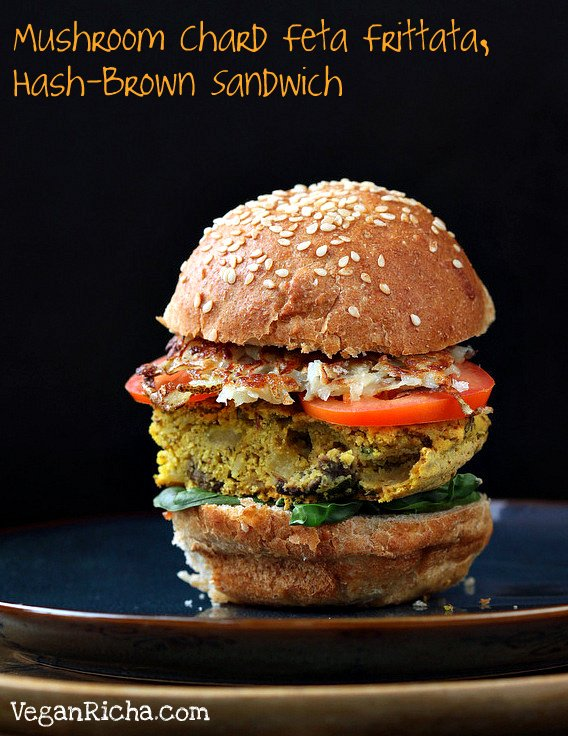 Vegan Frittata and Hashbrown Sandwich #vegan #veganricha