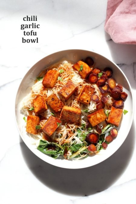 Baked Chili Garlic Tofu, Carrot, Chard and Noodle Bowls. Easy Weeknight Meal. Add some toasted cashews and other veggies of choice. #Glutenfree Nut-free #Vegan #Recipe #veganricha | VeganRicha.com