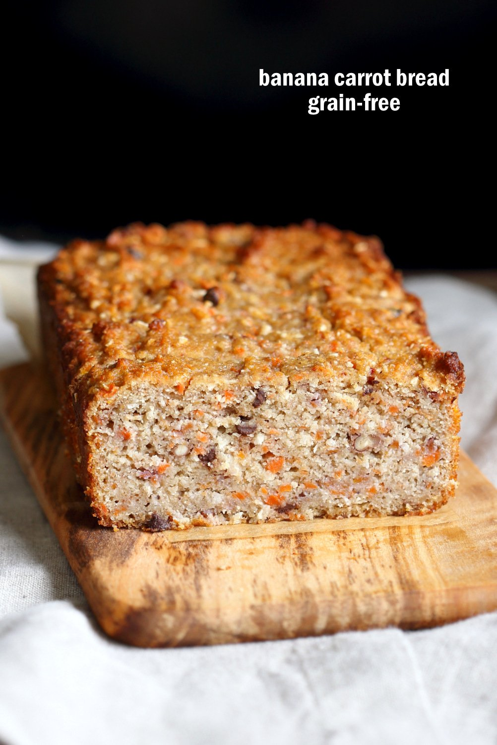 Vegan Gluten free Banana Bread. Grain-free Flourless Carrot Banana Bread. No Gum, no Aquafaba. #Vegan #grainfree #Glutenfree Soy-free #recipe. | VeganRicha.com