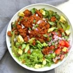 "Vegan Taco Salad Bowl with Carrot Walnut Taco ""Meat"". Vegan Taco filling. Meatless Taco Salad. Make a wrap or tacos with it. Vegan Gluten-free Recipe.  #vegan #glutenfree #vegantaco #veganricha 