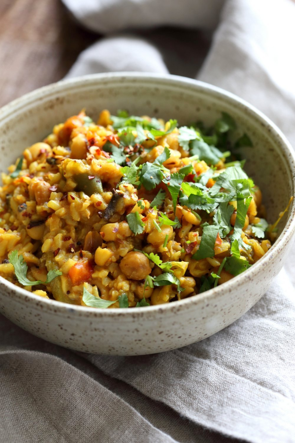 Instant Pot Black Eyed Peas Rice Pulao served in a deep grey bowl