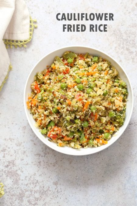 Cauliflower Fried Rice. Easy 1 Pot Fried Rice. No grains, low carb. So fluffy and so good. #Vegan #Glutenfree #Grainfree #Nutfree #Recipe #veganricha  | VeganRicha.com