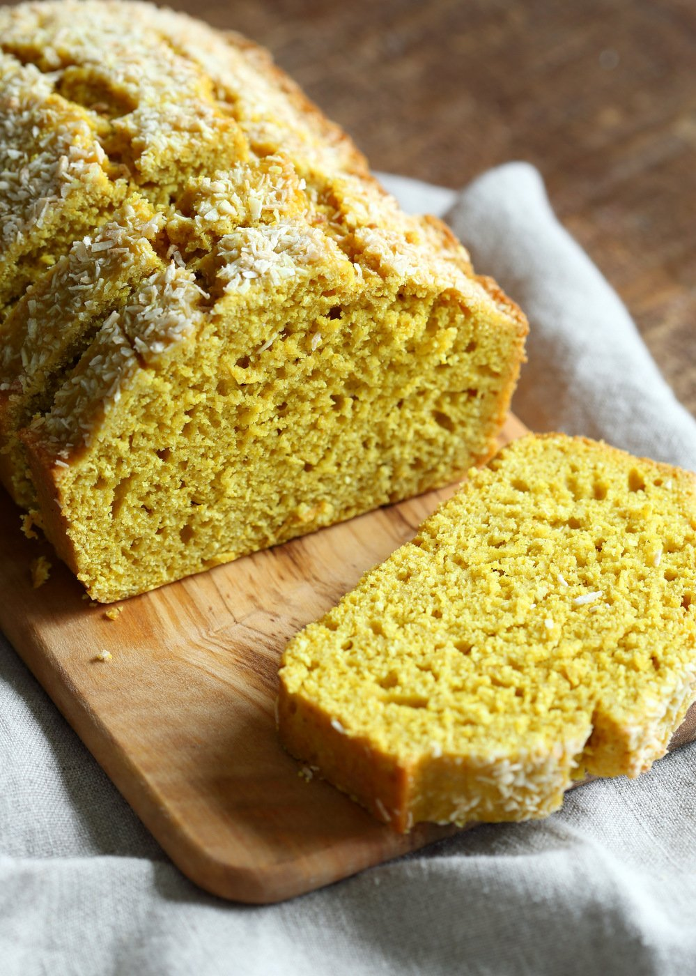 Easy 1 Bowl Coconut Turmeric Bread. Soft and Delicious 1 Bowl Golden Lemon Coconut loaf. No added oil in this cake. #Vegan #Nutfree Soyfree #Oilfree #Recipe.  #veganricha | VeganRicha.com
