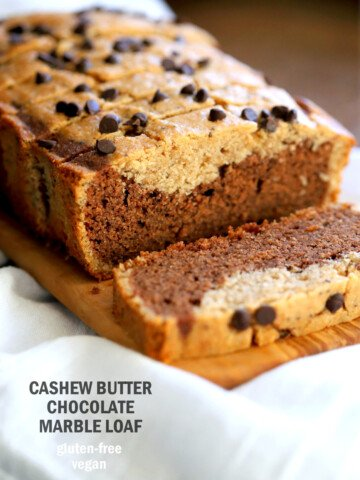Gluten-free Cashew Butter Chocolate Marble Cake Vegan Gluten free Cake. Peanut butter chocolate marble loaf. Soft, Moist, Delicious and Easy Gluten-free Marble Cake. Soy-free gum-free Recipe. #vegan #glutenfree #veganricha   VeganRicha.com