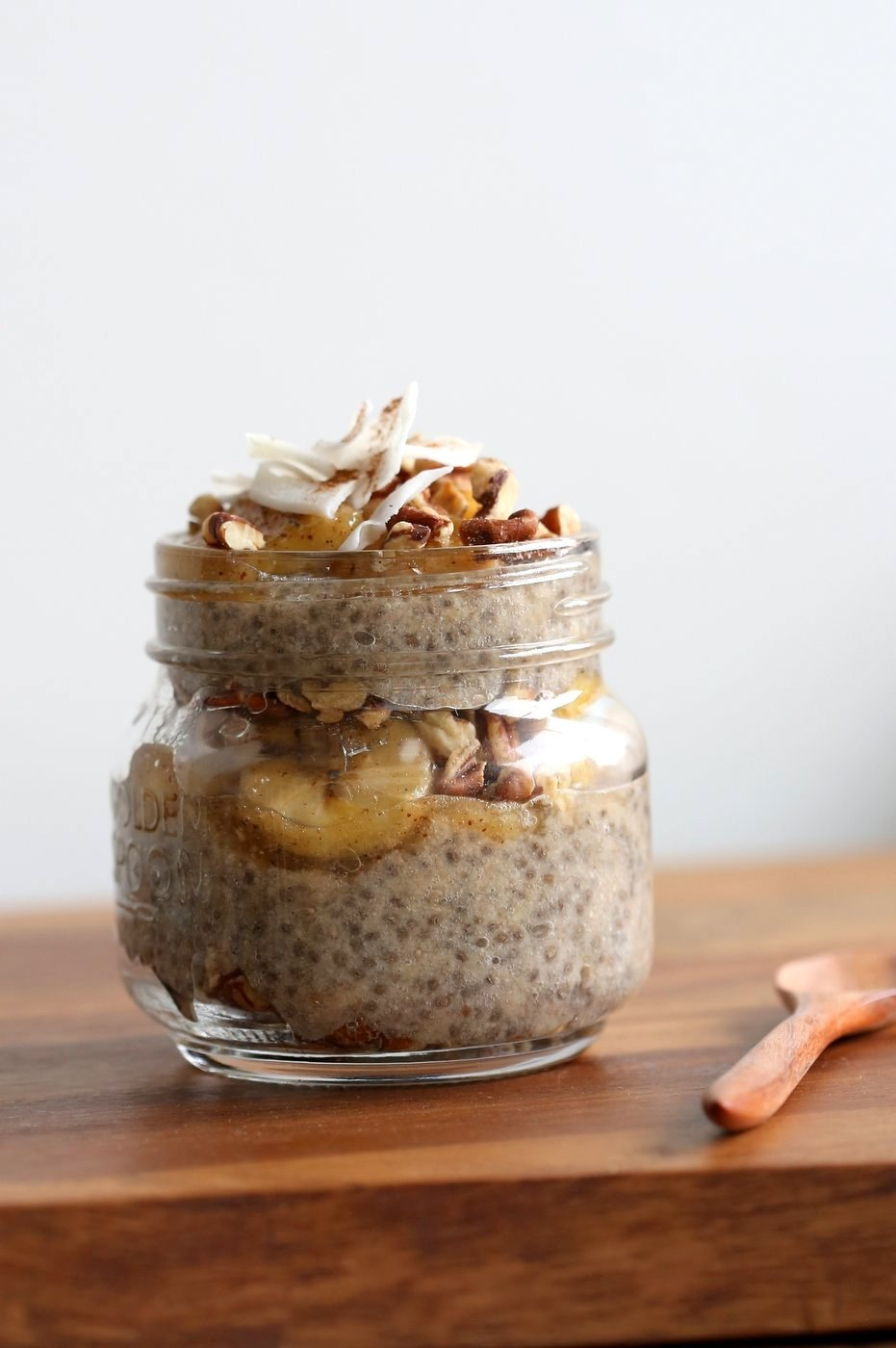 Banana Chia Pudding with Caramelized Banana and Coconut. Banana Bread in Chia Pudding form. Vegan Breakfast Recipe. #Glutenfree #Soyfree #Recipe. Can be #Nutfree | VeganRicha.com