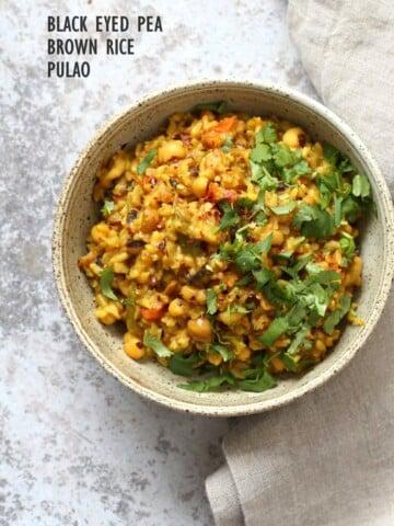 Instant Pot Black Eyed Peas Rice Pulao - Brown Rice Lobia Pulao. Black Eyes Peas and Rice cooked with spies and veggies. Saucepan option. #Vegan #Glutenfree #1Pot #Nutfree #Soyfree #instantpot #Recipe #VeganRicha   VeganRicha..com