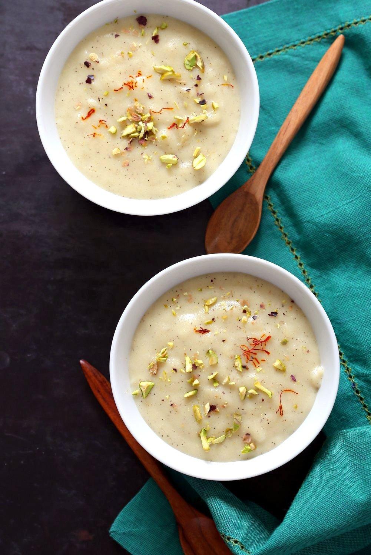 Thandai Phirni - Spiced Rice Flour Pudding for Holi Festival. Vegan Phirni Recipe with Thandai Masala mix. Vegan Indian #Dessert #Glutenfree #Soyfree. #vegan #veganricha | VeganRicha.com