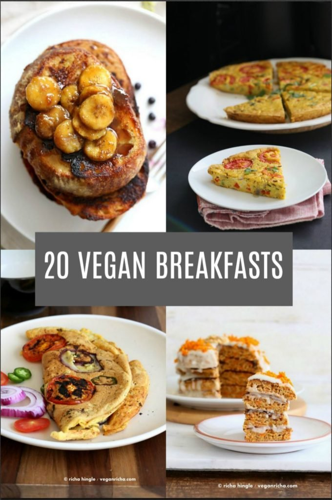20 Delicious Vegan Breakfast Recipes. Savory and Sweet Breakfast Ideas for everyday vegan Breakfasts or brunch. Gluten-free Soy-free options.  #vegan #veganricha #veganbreakfast | VeganRicha.com