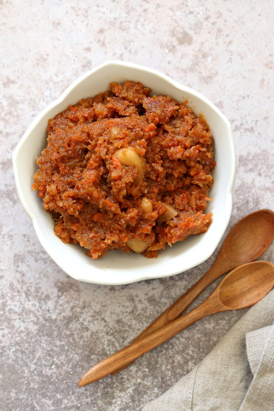 Instant Pot Gajar Halwa - Vegan Carrot Halwa Recipe. Carrot Halwa is an Indian dessert, a flourless Carrot Cake Crumble/pudding that is spiced with cardamom and served during festivals. #Vegan #Glutenfree #Soyfree #Recipe #veganricha | VeganRicha.com