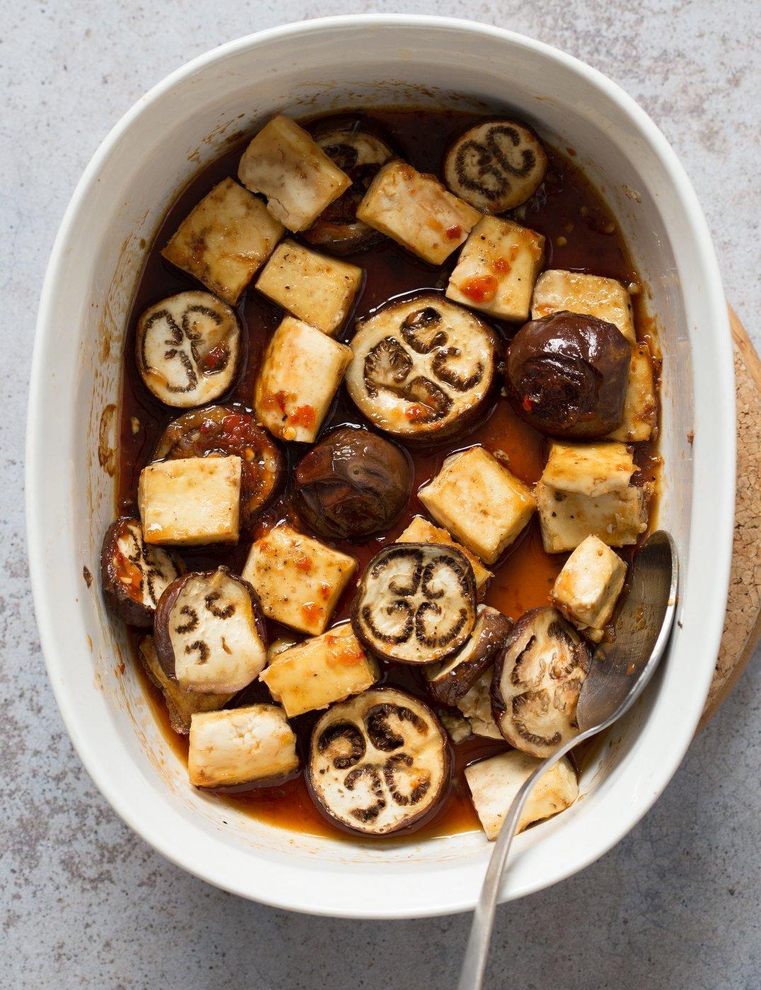 Eggplant & Tofu in Soy Lime Sauce - Baked Eggplant stir fry. Easy 1 Pot meal. Add other veggies of choice. #Vegan #Glutenfree #Nutfree #veganricha #Recipe | VeganRicha.com