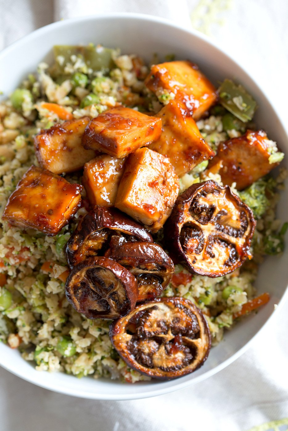 Eggplant & Tofu in Soy Lime Sauce - Baked Eggplant stir fry. Easy 1 Pot meal. Add other veggies of choice. #Vegan #Glutenfree #Nutfree #veganricha #Recipe  | VeganRicha.com