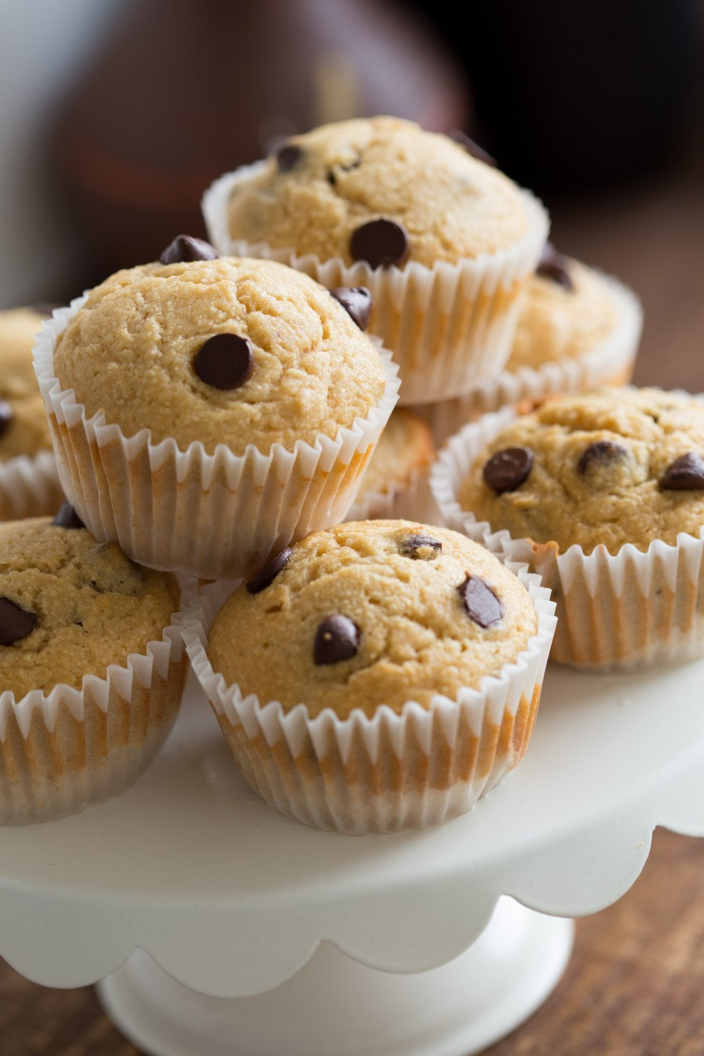 Vegan Chocolate Chip Muffins with coconut. These Soft, moist and chocolatey muffins take just a few minutes and have no added oil. #Vegan #Nutfree #Soyfree #Recipe #veganricha Use dried fruit instead of chocolate to make #oilfree | VeganRicha.com
