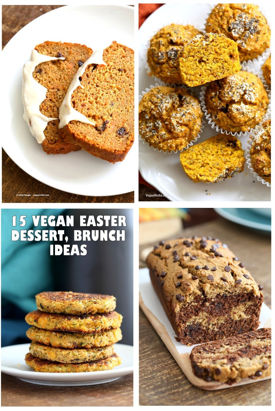 15 Vegan Easter Dessert and Brunch Ideas. Carrot Cake, Carrot Cake Pancakes, Nut Butter Marble Cake, Chickpea carrot pancakes, Almond joys, Frittatas and more. #vegan #glutenfree #veganricha